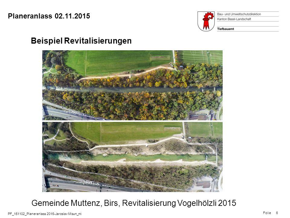 PF_151102_Planeranlass 2015-Jaroslav Misun_mi Folie Planeranlass 02.11.2015 6 Beispiel Revitalisierungen Gemeinde Muttenz, Birs, Revitalisierung Vogel