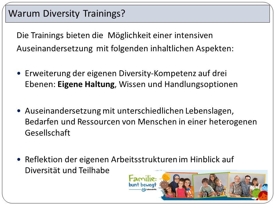 Die Trainings bieten die Möglichkeit einer intensiven Auseinandersetzung mit folgenden inhaltlichen Aspekten: Erweiterung der eigenen Diversity-Kompet