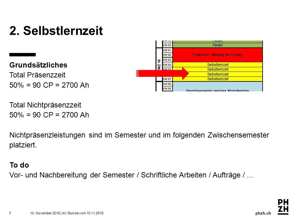 phzh.ch Regelung für Selbstlernzeit 8 -Selbstlernzeit = Arbeitszeit.