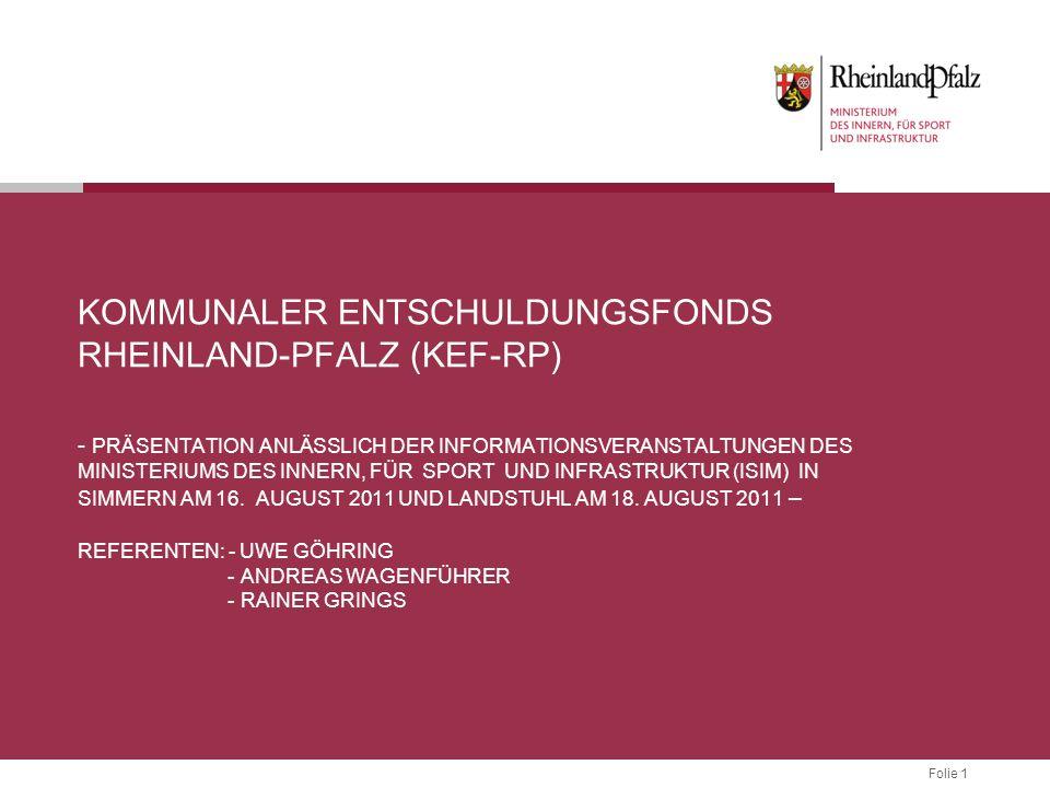 Folie 1 KOMMUNALER ENTSCHULDUNGSFONDS RHEINLAND-PFALZ (KEF-RP) - PRÄSENTATION ANLÄSSLICH DER INFORMATIONSVERANSTALTUNGEN DES MINISTERIUMS DES INNERN, FÜR SPORT UND INFRASTRUKTUR (ISIM) IN SIMMERN AM 16.