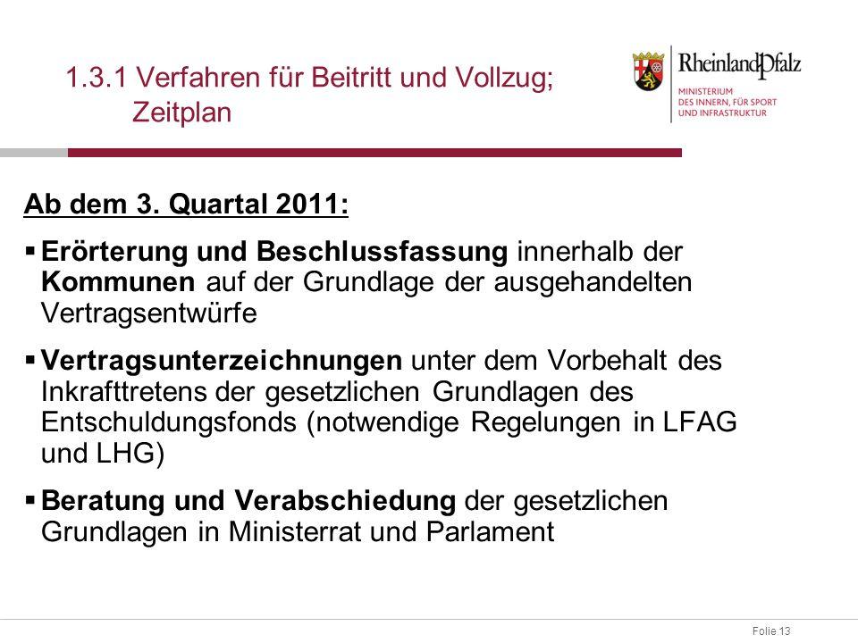 Folie 13 1.3.1 Verfahren für Beitritt und Vollzug; Zeitplan Ab dem 3. Quartal 2011:  Erörterung und Beschlussfassung innerhalb der Kommunen auf der G