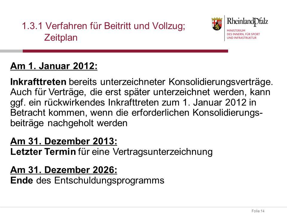 Folie 14 1.3.1 Verfahren für Beitritt und Vollzug; Zeitplan Am 1. Januar 2012: Inkrafttreten bereits unterzeichneter Konsolidierungsverträge. Auch für