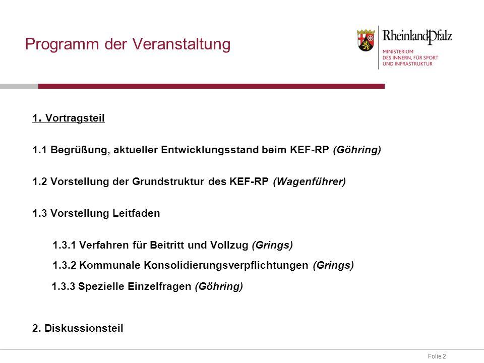 Folie 2 Programm der Veranstaltung 1. Vortragsteil 1.1 Begrüßung, aktueller Entwicklungsstand beim KEF-RP (Göhring) 1.2 Vorstellung der Grundstruktur
