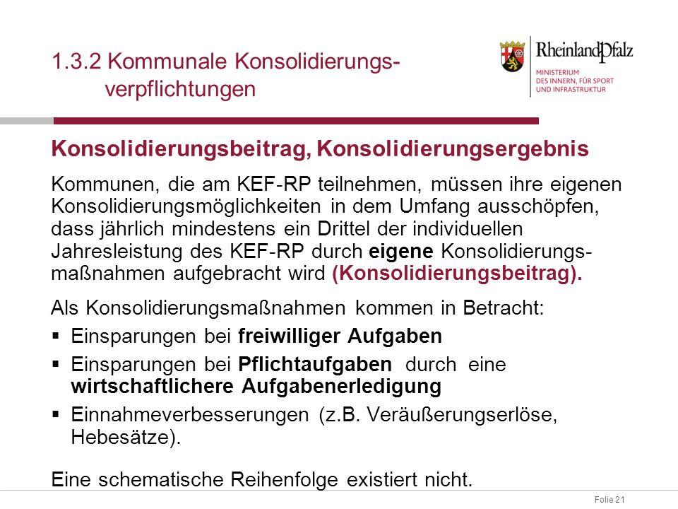 Folie 21 Konsolidierungsbeitrag, Konsolidierungsergebnis Kommunen, die am KEF-RP teilnehmen, müssen ihre eigenen Konsolidierungsmöglichkeiten in dem U