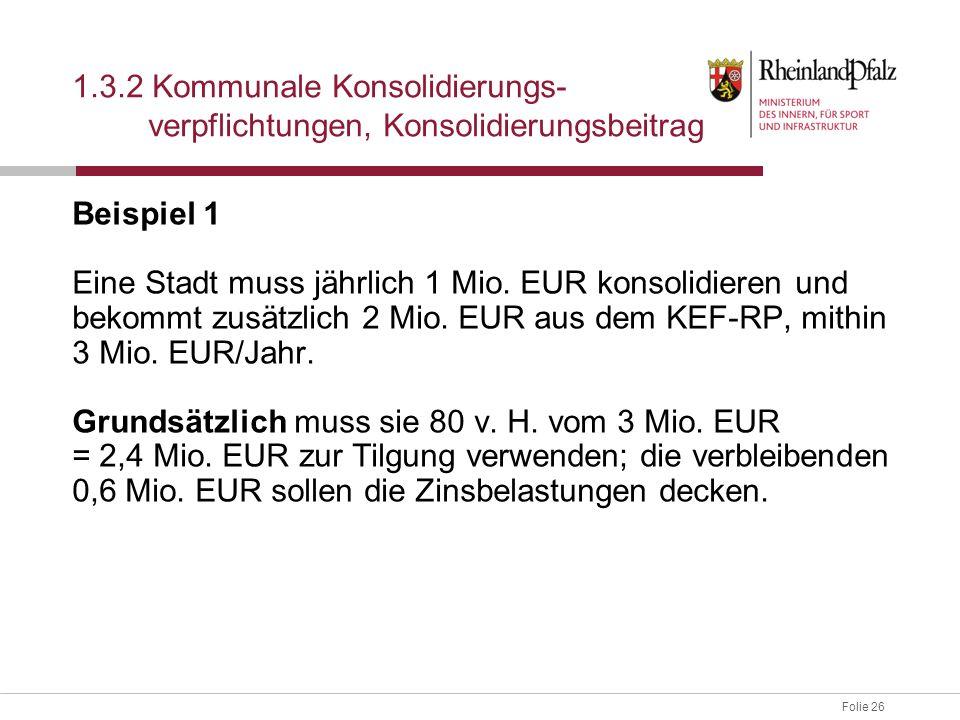 Folie 26 Beispiel 1 Eine Stadt muss jährlich 1 Mio. EUR konsolidieren und bekommt zusätzlich 2 Mio. EUR aus dem KEF-RP, mithin 3 Mio. EUR/Jahr. Grunds