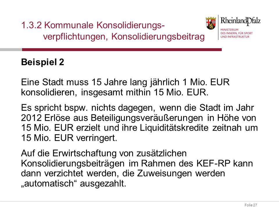 Folie 27 Beispiel 2 Eine Stadt muss 15 Jahre lang jährlich 1 Mio. EUR konsolidieren, insgesamt mithin 15 Mio. EUR. Es spricht bspw. nichts dagegen, we