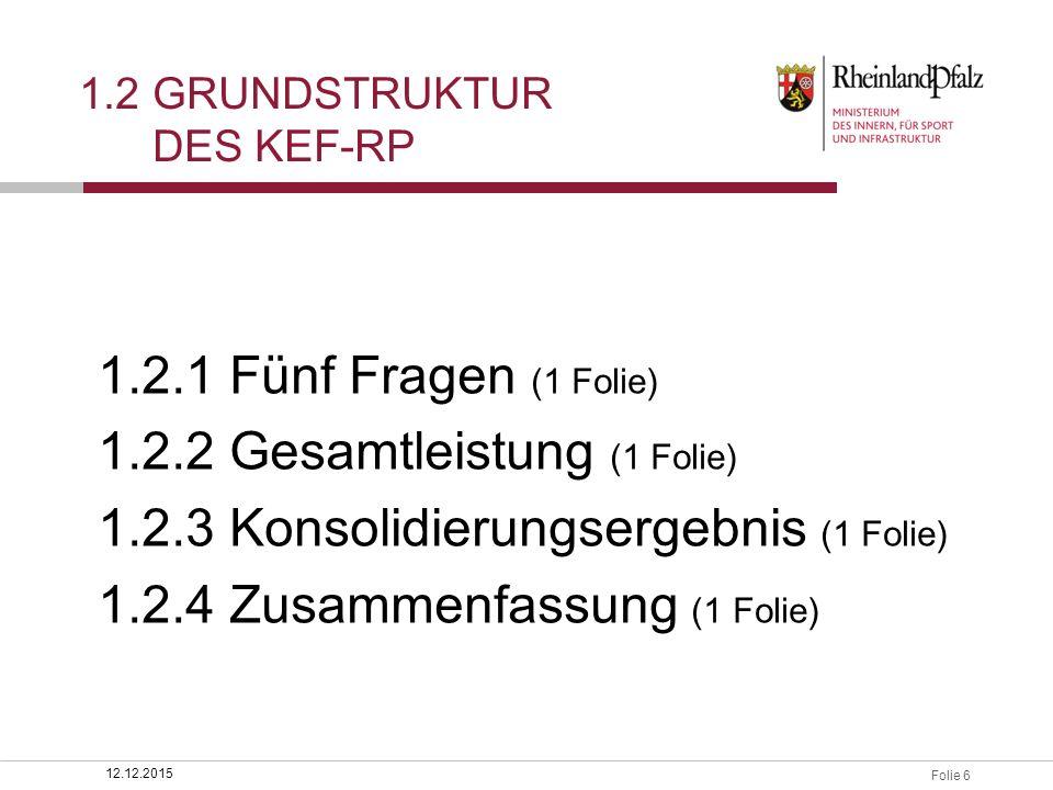 Folie 6 1.2 GRUNDSTRUKTUR DES KEF-RP 12.12.2015 1.2.1 Fünf Fragen (1 Folie) 1.2.2 Gesamtleistung (1 Folie) 1.2.3 Konsolidierungsergebnis (1 Folie) 1.2.4 Zusammenfassung (1 Folie)