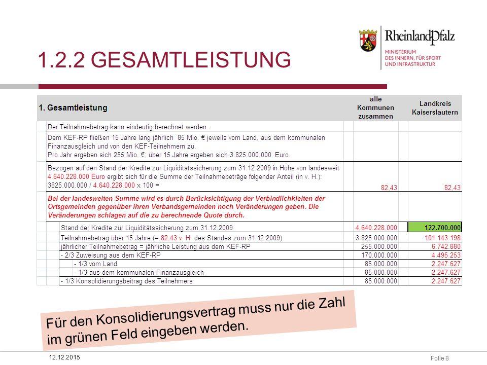 Folie 8 1.2.2 GESAMTLEISTUNG 12.12.2015 Für den Konsolidierungsvertrag muss nur die Zahl im grünen Feld eingeben werden.