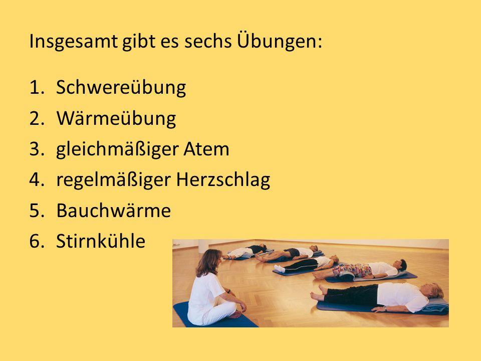 Insgesamt gibt es sechs Übungen: 1.Schwereübung 2.Wärmeübung 3.gleichmäßiger Atem 4.regelmäßiger Herzschlag 5.Bauchwärme 6.Stirnkühle