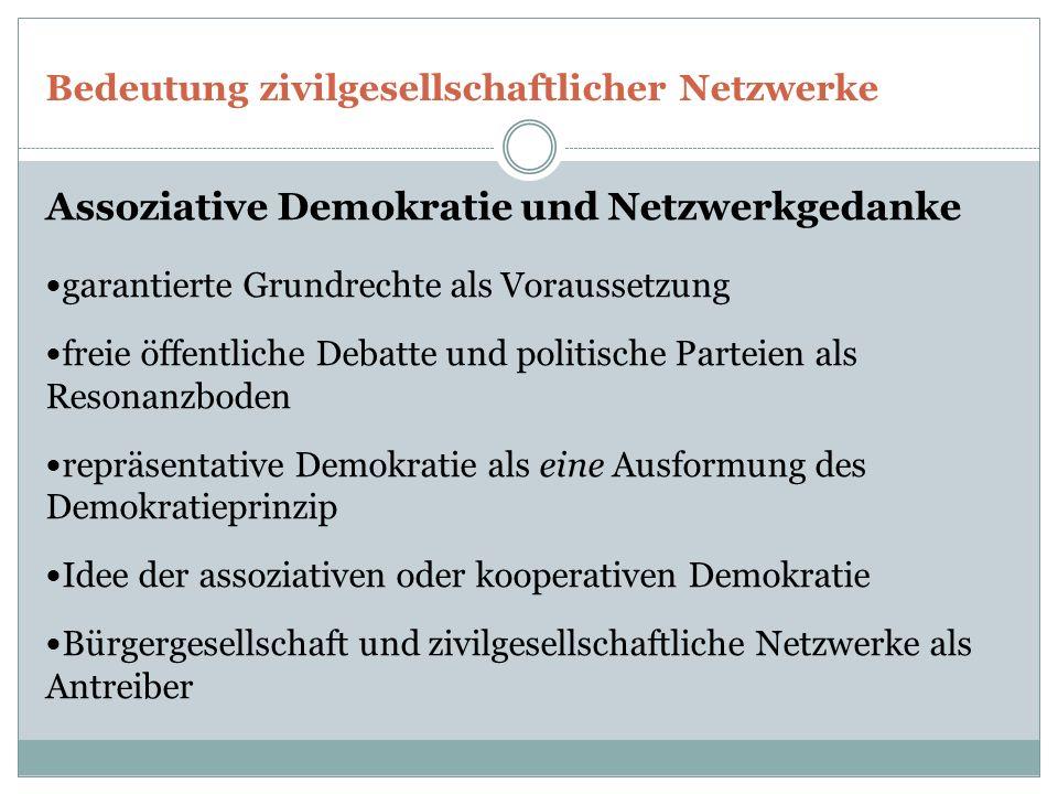 Bedeutung zivilgesellschaftlicher Netzwerke Assoziative Demokratie und Netzwerkgedanke garantierte Grundrechte als Voraussetzung freie öffentliche Debatte und politische Parteien als Resonanzboden repräsentative Demokratie als eine Ausformung des Demokratieprinzip Idee der assoziativen oder kooperativen Demokratie Bürgergesellschaft und zivilgesellschaftliche Netzwerke als Antreiber