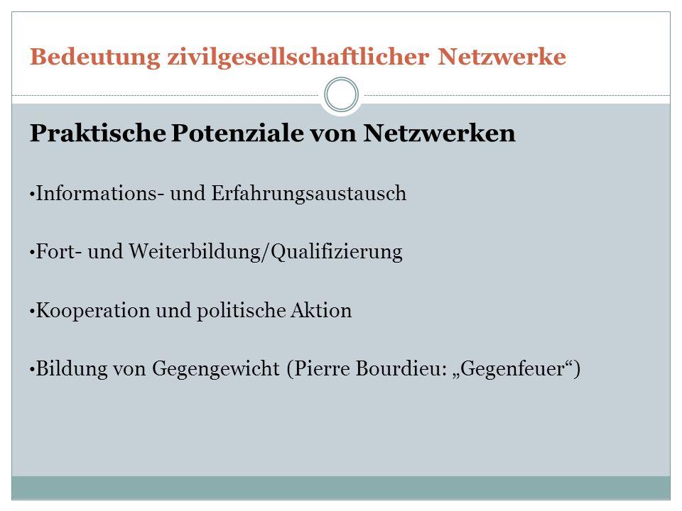 Bedeutung zivilgesellschaftlicher Netzwerke Praktische Potenziale von Netzwerken Informations- und Erfahrungsaustausch Fort- und Weiterbildung/Qualifi