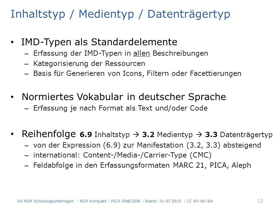 Inhaltstyp / Medientyp / Datenträgertyp IMD-Typen als Standardelemente – Erfassung der IMD-Typen in allen Beschreibungen – Kategorisierung der Ressourcen – Basis für Generieren von Icons, Filtern oder Facettierungen Normiertes Vokabular in deutscher Sprache – Erfassung je nach Format als Text und/oder Code Reihenfolge 6.9 Inhaltstyp  3.2 Medientyp  3.3 Datenträgertyp – von der Expression (6.9) zur Manifestation (3.2, 3.3) absteigend – international: Content-/Media-/Carrier-Type (CMC) – Feldabfolge in den Erfassungsformaten MARC 21, PICA, Aleph 12 AG RDA Schulungsunterlagen | RDA kompakt | PICA DNB/ZDB | Stand: 31.07.2015 | CC BY-NC-SA