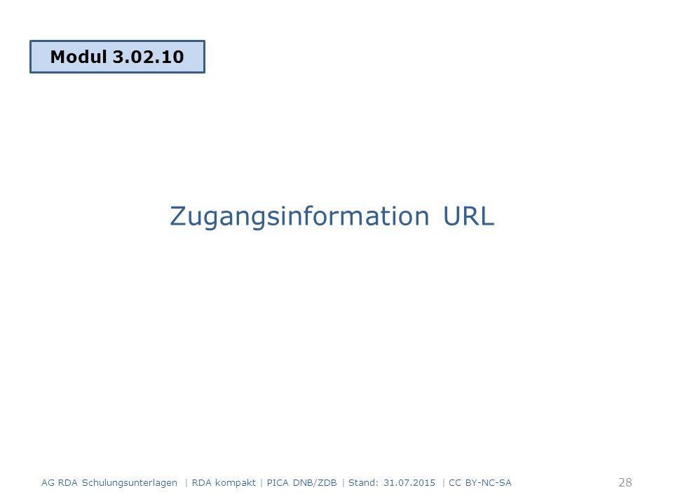 Zugangsinformation URL Modul 3.02.10 28 AG RDA Schulungsunterlagen | RDA kompakt | PICA DNB/ZDB | Stand: 31.07.2015 | CC BY-NC-SA
