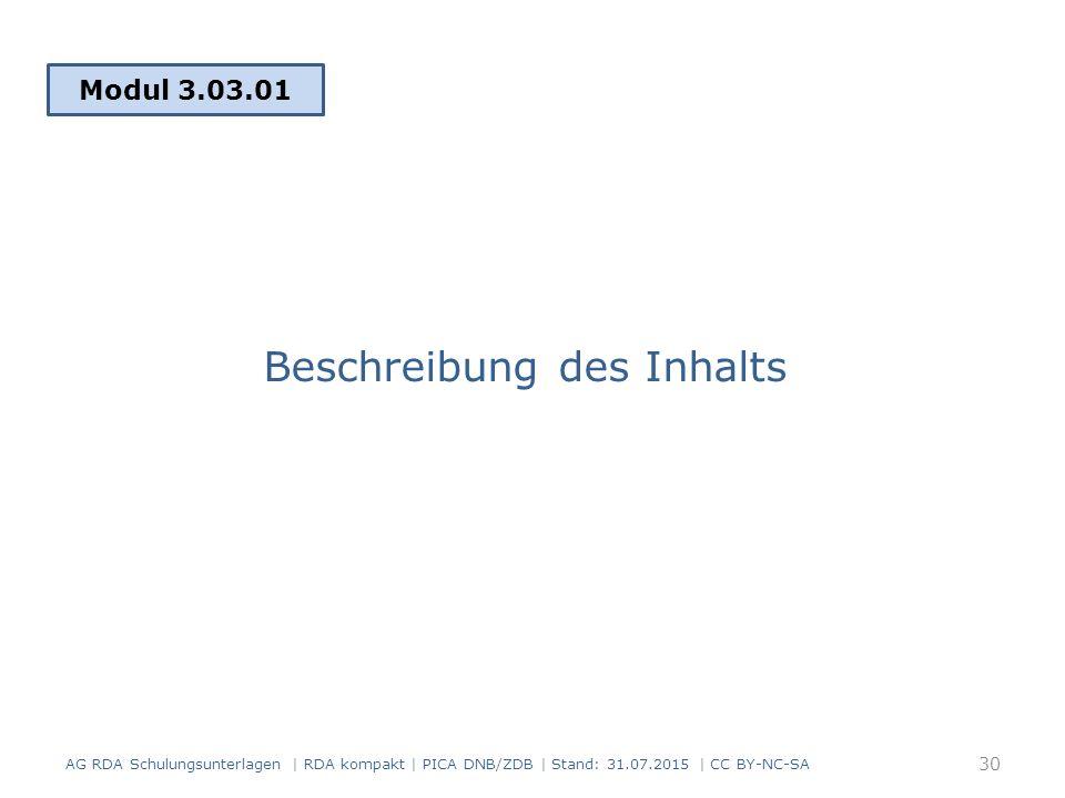 Beschreibung des Inhalts Modul 3.03.01 30 AG RDA Schulungsunterlagen | RDA kompakt | PICA DNB/ZDB | Stand: 31.07.2015 | CC BY-NC-SA