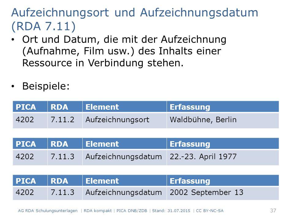 PICARDAElementErfassung 42027.11.2AufzeichnungsortWaldbühne, Berlin Aufzeichnungsort und Aufzeichnungsdatum (RDA 7.11) Ort und Datum, die mit der Aufzeichnung (Aufnahme, Film usw.) des Inhalts einer Ressource in Verbindung stehen.