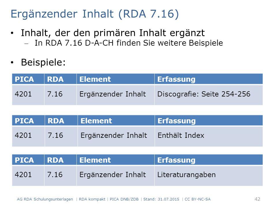 PICARDAElementErfassung 42017.16Ergänzender InhaltDiscografie: Seite 254-256 Ergänzender Inhalt (RDA 7.16) Inhalt, der den primären Inhalt ergänzt In RDA 7.16 D-A-CH finden Sie weitere Beispiele Beispiele: PICARDAElementErfassung 42017.16Ergänzender InhaltEnthält Index PICARDAElementErfassung 42017.16Ergänzender InhaltLiteraturangaben 42 AG RDA Schulungsunterlagen | RDA kompakt | PICA DNB/ZDB | Stand: 31.07.2015 | CC BY-NC-SA