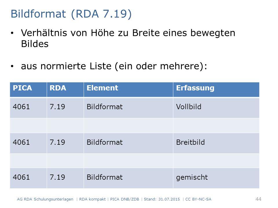 PICARDAElementErfassung 40617.19BildformatVollbild 40617.19BildformatBreitbild 40617.19Bildformatgemischt Bildformat (RDA 7.19) Verhältnis von Höhe zu Breite eines bewegten Bildes aus normierte Liste (ein oder mehrere): AG RDA Schulungsunterlagen | RDA kompakt | PICA DNB/ZDB | Stand: 31.07.2015 | CC BY-NC-SA 44