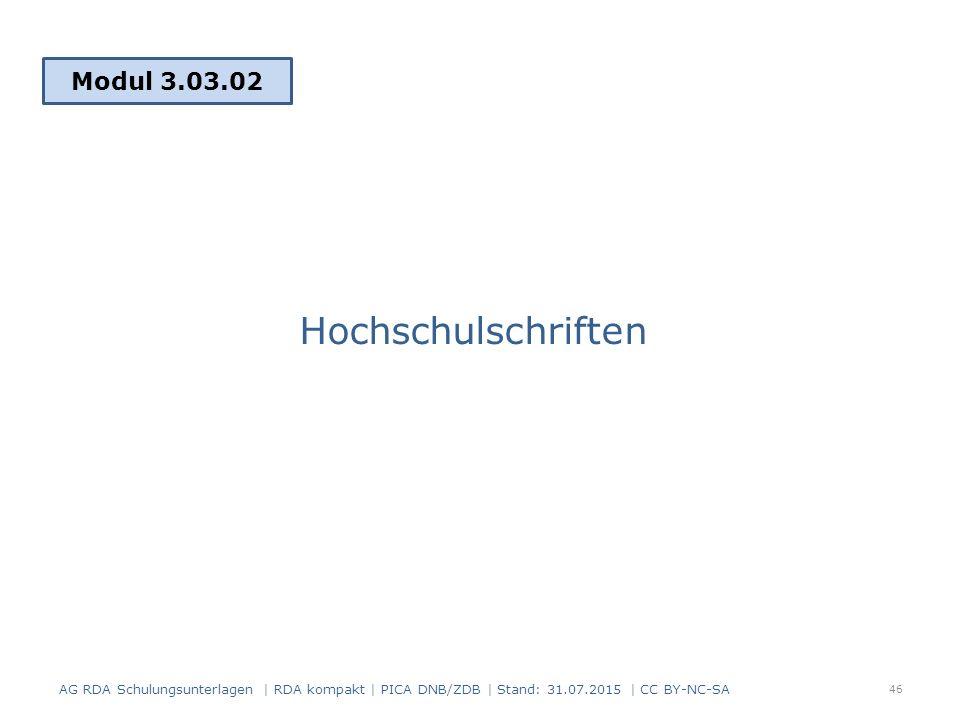 Hochschulschriften Modul 3.03.02 46 AG RDA Schulungsunterlagen | RDA kompakt | PICA DNB/ZDB | Stand: 31.07.2015 | CC BY-NC-SA