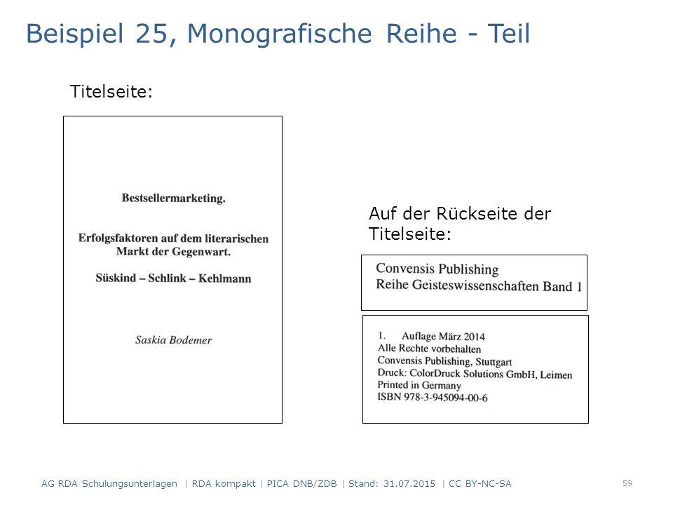 Beispiel 25, Monografische Reihe - Teil Titelseite: Auf der Rückseite der Titelseite: 59 AG RDA Schulungsunterlagen | RDA kompakt | PICA DNB/ZDB | Stand: 31.07.2015 | CC BY-NC-SA