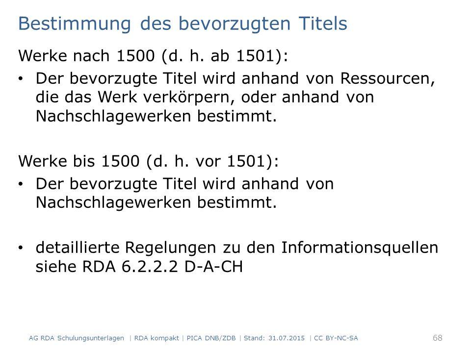 Bestimmung des bevorzugten Titels Werke nach 1500 (d.