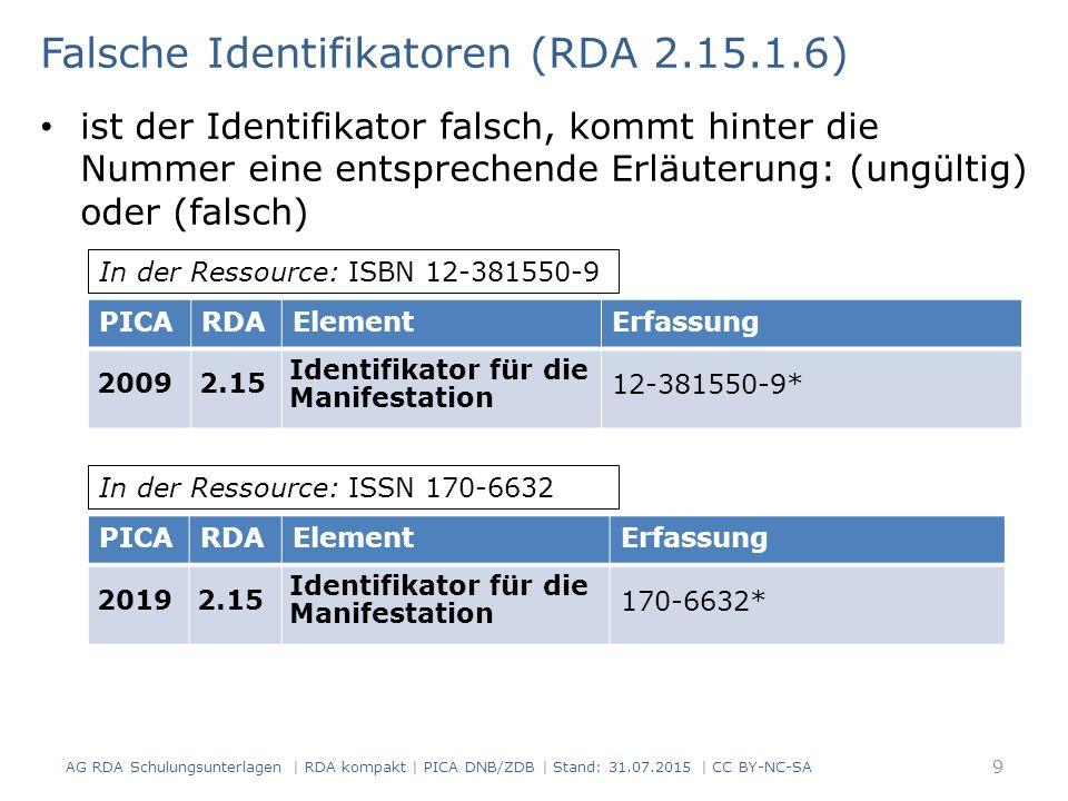 Falsche Identifikatoren (RDA 2.15.1.6) ist der Identifikator falsch, kommt hinter die Nummer eine entsprechende Erläuterung: (ungültig) oder (falsch) PICARDAElementErfassung 20092.15 Identifikator für die Manifestation 12-381550-9* In der Ressource: ISBN 12-381550-9 PICARDAElementErfassung 20192.15 Identifikator für die Manifestation 170-6632* In der Ressource: ISSN 170-6632 9 AG RDA Schulungsunterlagen | RDA kompakt | PICA DNB/ZDB | Stand: 31.07.2015 | CC BY-NC-SA