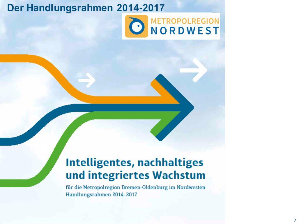 Metropolregion Nordwest 14 11 Landkreise, 5 kreisfreie Städte, 6 IHKs und die beiden Bundesländer Bremen und Niedersachsen Einwohner: 2,68 Mio.
