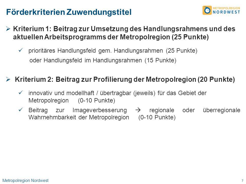 Metropolregion Nordwest 8  Kriterium 3: Kooperationsraum (max.