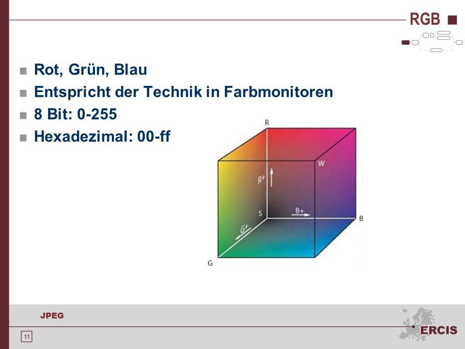 11 JPEG RGB Rot, Grün, Blau Entspricht der Technik in Farbmonitoren 8 Bit: 0-255 Hexadezimal: 00-ff