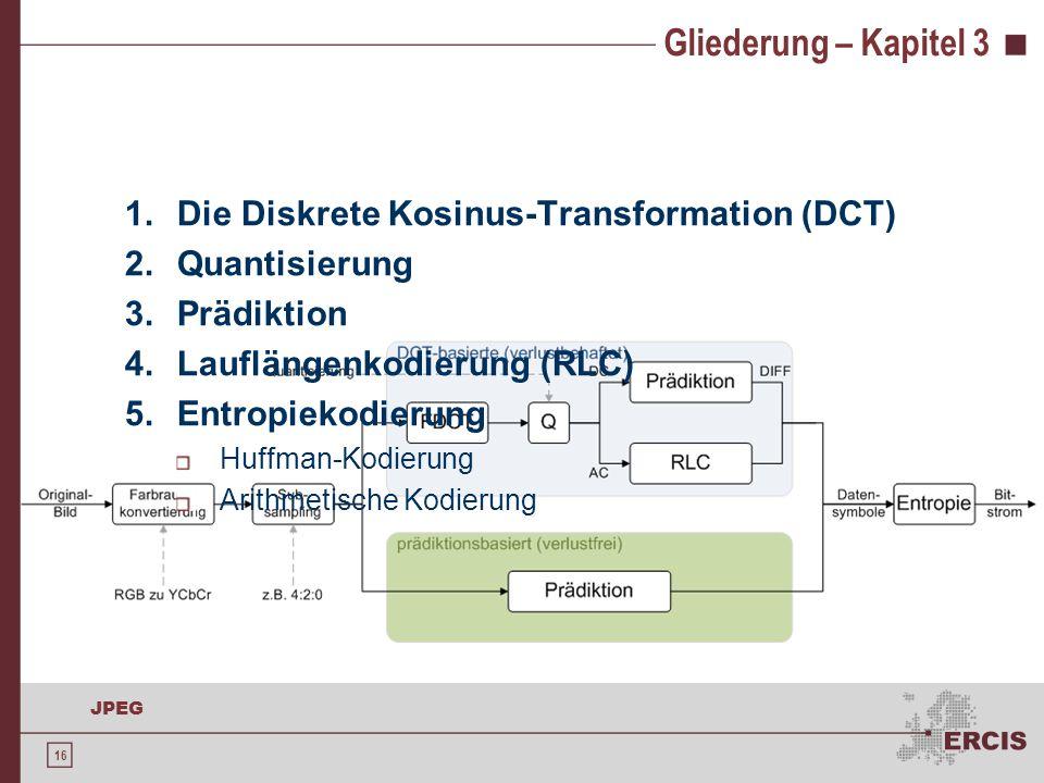 16 JPEG Gliederung – Kapitel 3 1.Die Diskrete Kosinus-Transformation (DCT) 2.Quantisierung 3.Prädiktion 4.Lauflängenkodierung (RLC) 5.Entropiekodierun