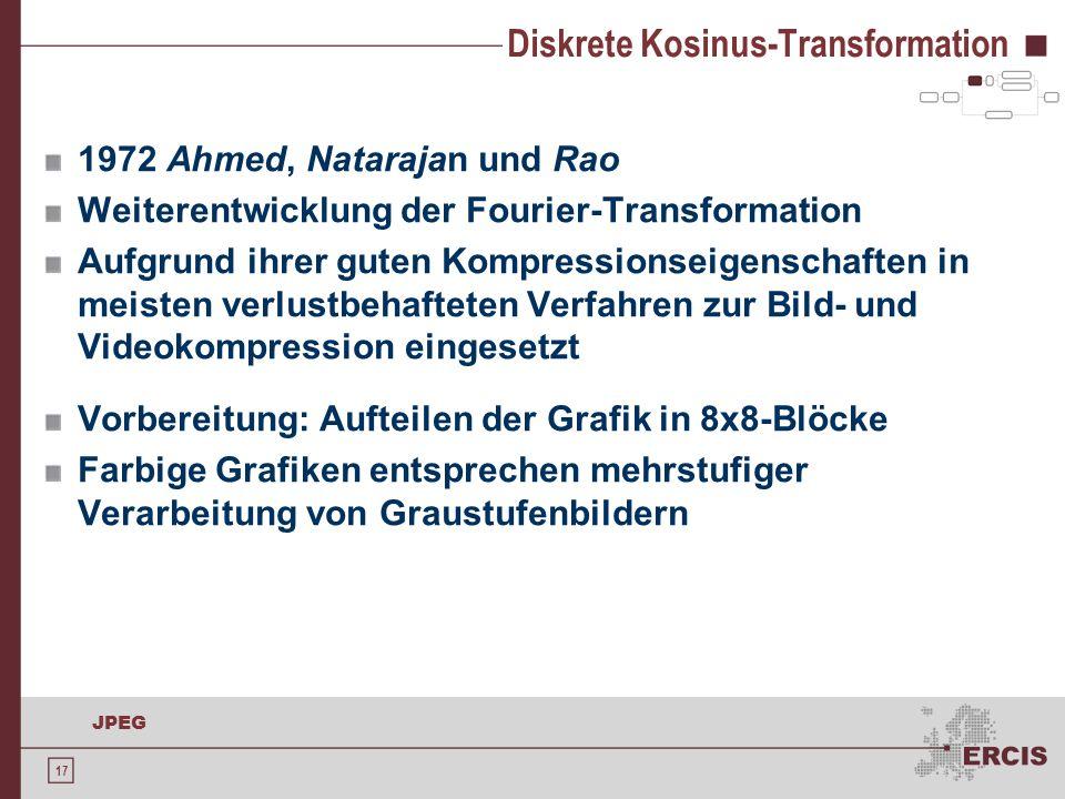 17 JPEG Diskrete Kosinus-Transformation 1972 Ahmed, Natarajan und Rao Weiterentwicklung der Fourier-Transformation Aufgrund ihrer guten Kompressionsei