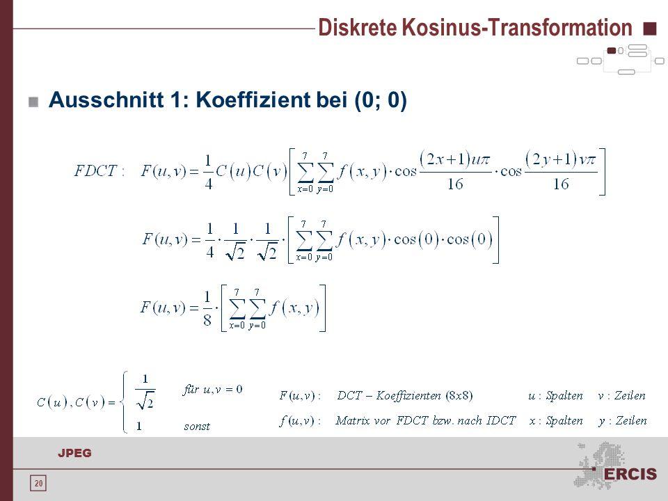 20 JPEG Diskrete Kosinus-Transformation Ausschnitt 1: Koeffizient bei (0; 0)