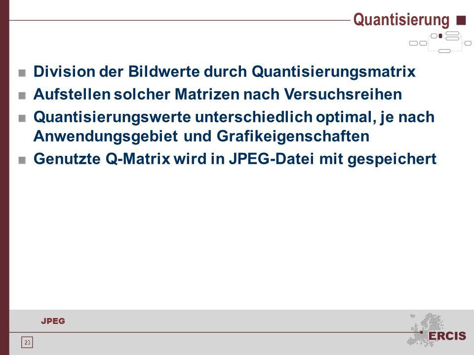 23 JPEG Division der Bildwerte durch Quantisierungsmatrix Aufstellen solcher Matrizen nach Versuchsreihen Quantisierungswerte unterschiedlich optimal,