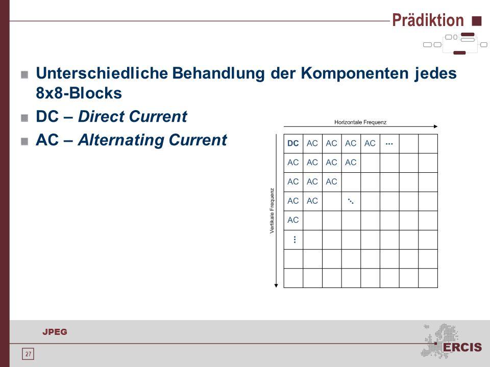 27 JPEG Prädiktion Unterschiedliche Behandlung der Komponenten jedes 8x8-Blocks DC – Direct Current AC – Alternating Current
