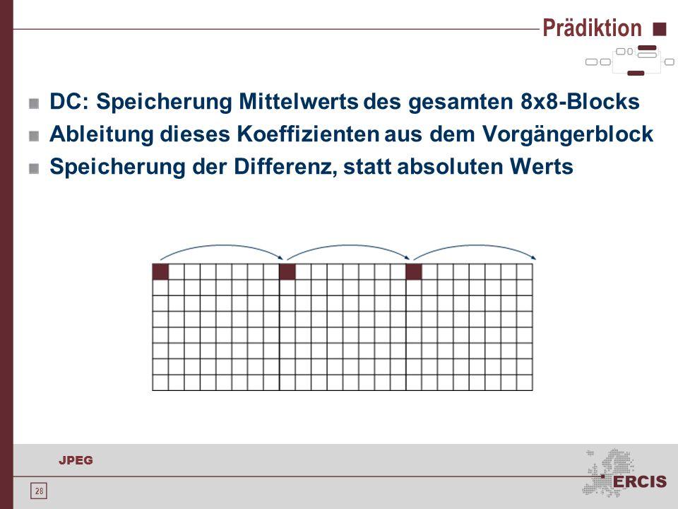 28 JPEG Prädiktion DC: Speicherung Mittelwerts des gesamten 8x8-Blocks Ableitung dieses Koeffizienten aus dem Vorgängerblock Speicherung der Differenz