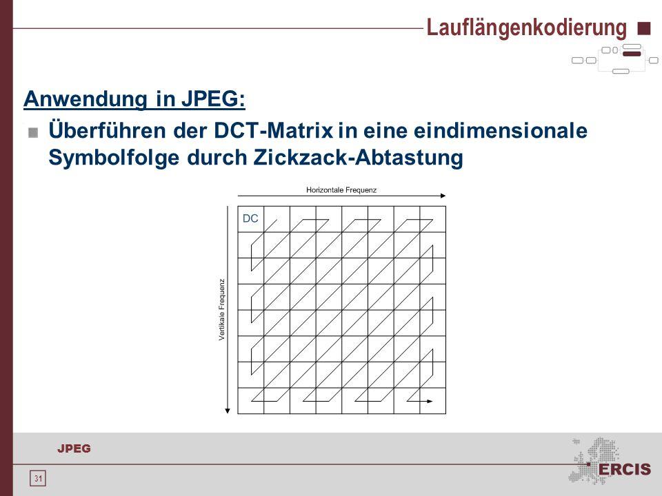 31 JPEG Lauflängenkodierung Anwendung in JPEG: Überführen der DCT-Matrix in eine eindimensionale Symbolfolge durch Zickzack-Abtastung