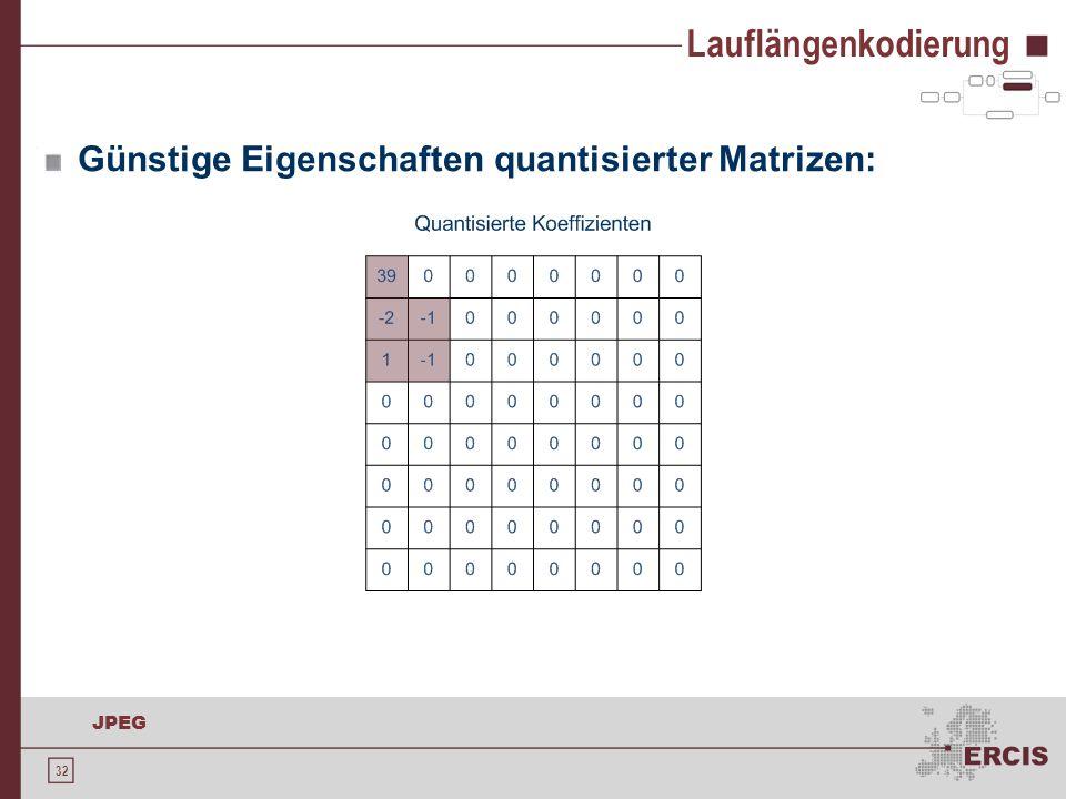 32 JPEG Lauflängenkodierung Günstige Eigenschaften quantisierter Matrizen:
