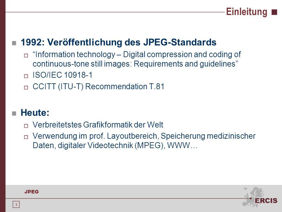 46 JPEG Ausblick: JPEG2000 2000: ISO 15444, Nachfolger des JPEG-Standards Waveletbasierte Transformation Flexibler Zugriff: Änderungen ohne Rekompression Entnahme von Ausschnitten oder geringerer Auflösung aus einer Datei möglich Verbreitung bisher aufgrund der Zufriedenheit mit JPEG gering JPEG-LS-Standard oder PNG-Format für bestimmte Grafiken effizienter