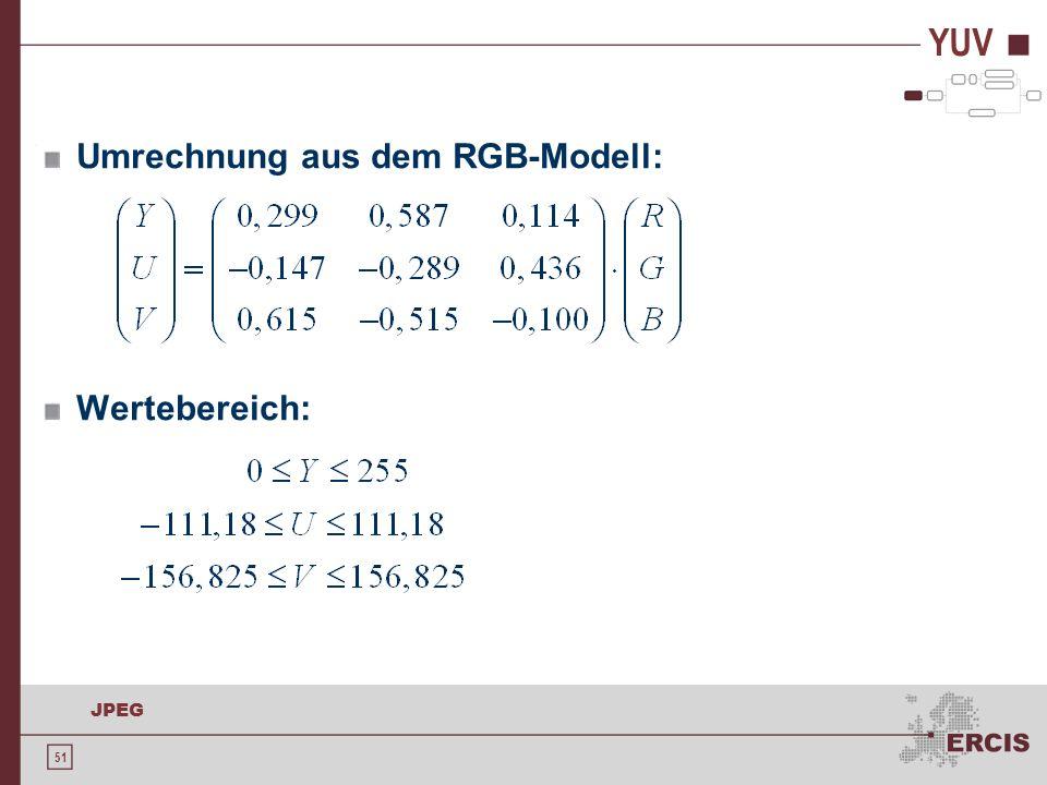 51 JPEG YUV Umrechnung aus dem RGB-Modell: Wertebereich: