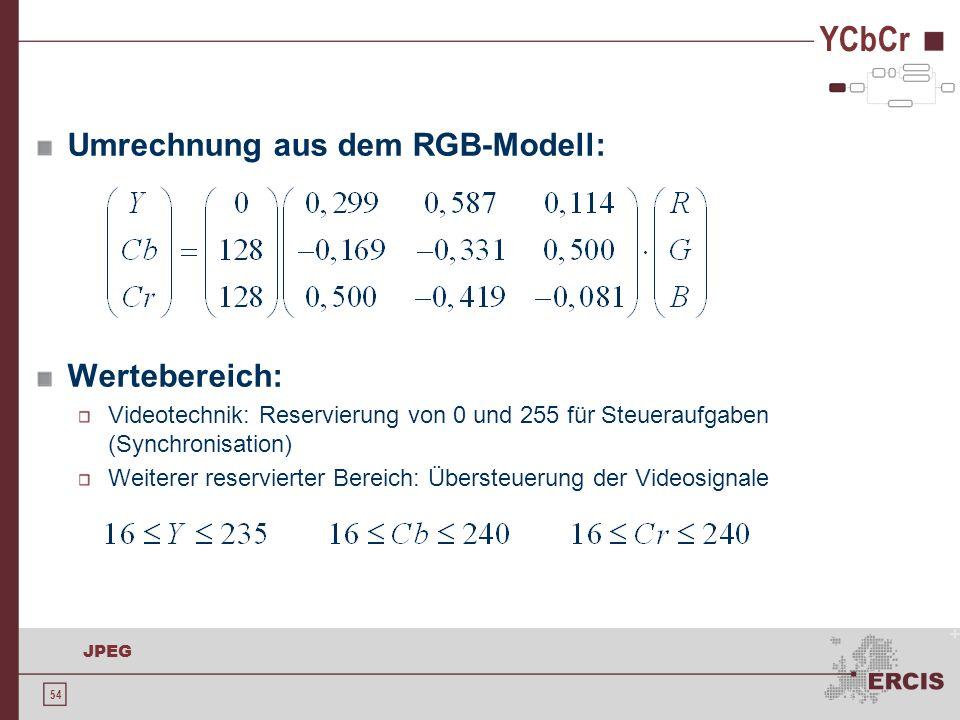 54 JPEG YCbCr Umrechnung aus dem RGB-Modell: Wertebereich: Videotechnik: Reservierung von 0 und 255 für Steueraufgaben (Synchronisation) Weiterer rese