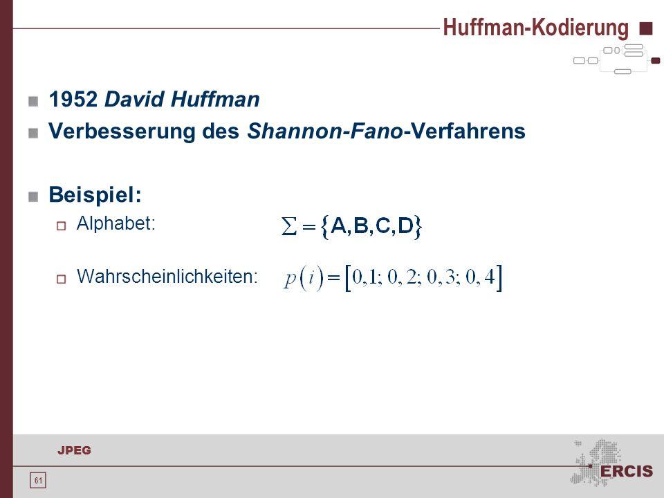 61 JPEG Huffman-Kodierung 1952 David Huffman Verbesserung des Shannon-Fano-Verfahrens Beispiel: Alphabet: Wahrscheinlichkeiten: