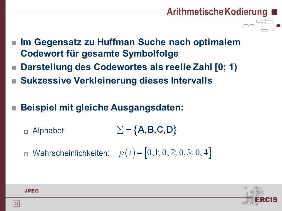 65 JPEG Arithmetische Kodierung Im Gegensatz zu Huffman Suche nach optimalem Codewort für gesamte Symbolfolge Darstellung des Codewortes als reelle Za