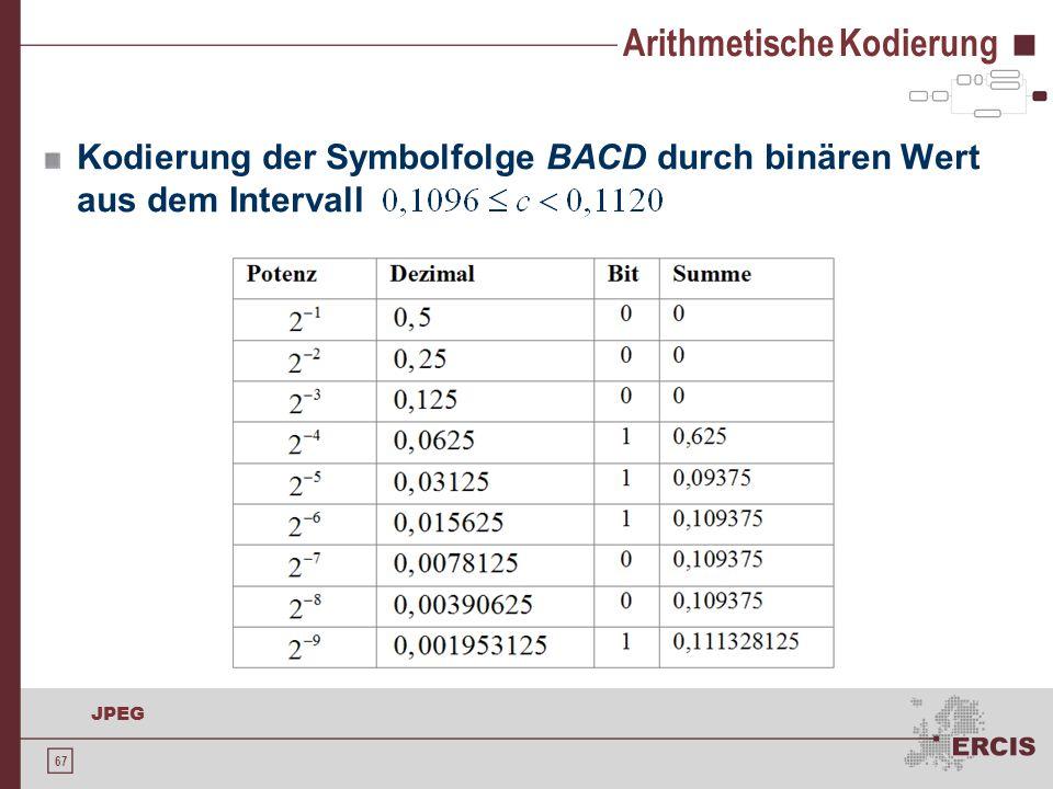67 JPEG Arithmetische Kodierung Kodierung der Symbolfolge BACD durch binären Wert aus dem Intervall
