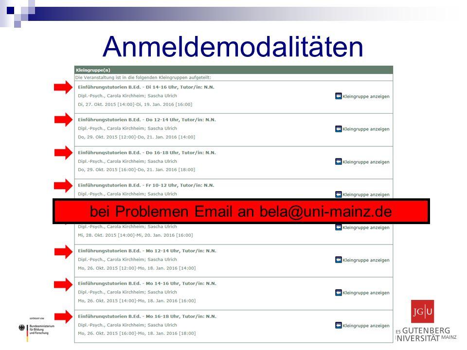ZfL Studienbüro Bildungswissenschaften Tutorienprogramm für Studienanfänger Anmeldemodalitäten bei Problemen Email an bela@uni-mainz.de