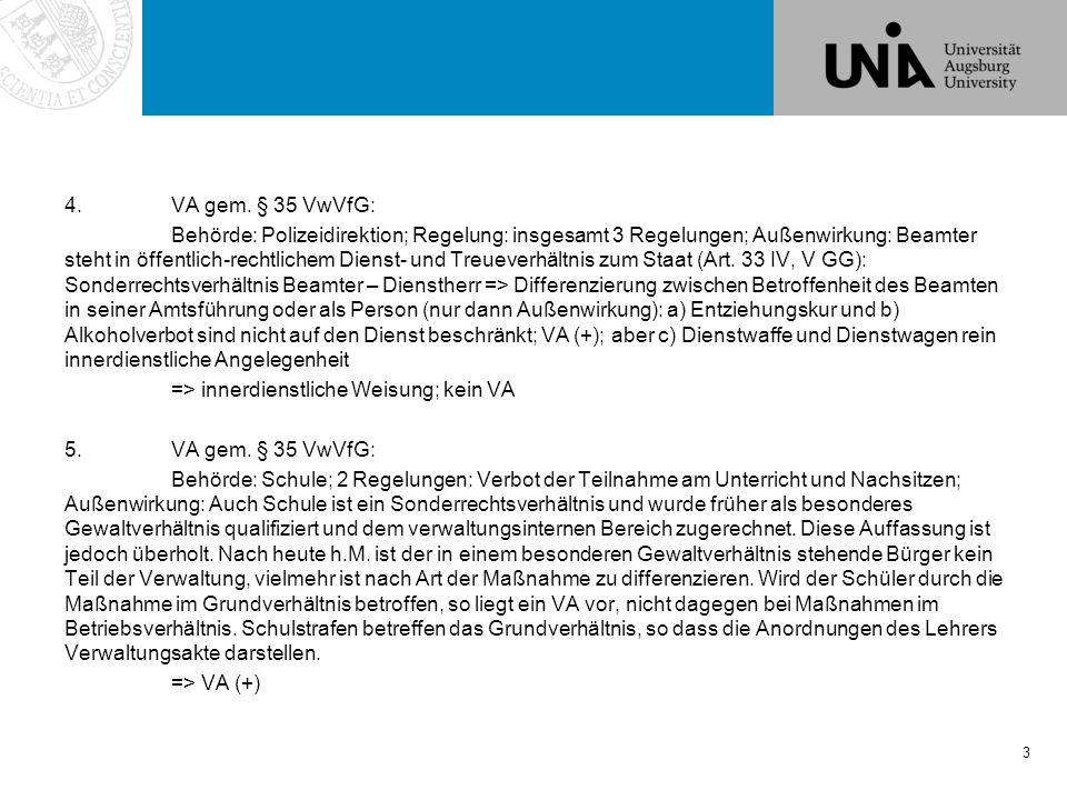 Verwaltungsrecht – Fall 2 34 Wiss.Mit.