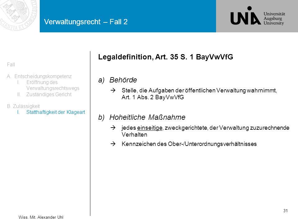 Verwaltungsrecht – Fall 2 31 Wiss.Mit. Alexander Uhl Legaldefinition, Art.