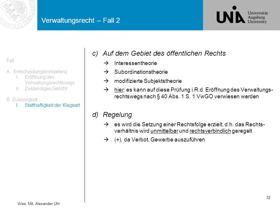 Verwaltungsrecht – Fall 2 32 Wiss.Mit.