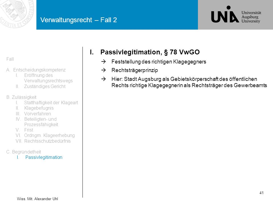 Verwaltungsrecht – Fall 2 41 Wiss.Mit.