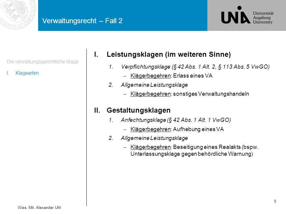 Verwaltungsrecht – Fall 2 5 Die verwaltungsgerichtliche Klage I.Klagearten Wiss.