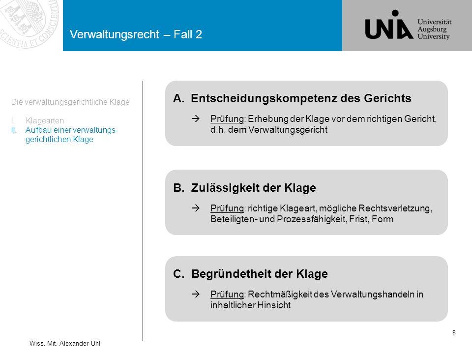 Verwaltungsrecht – Fall 2 8 Die verwaltungsgerichtliche Klage I.Klagearten II.Aufbau einer verwaltungs- gerichtlichen Klage Wiss.