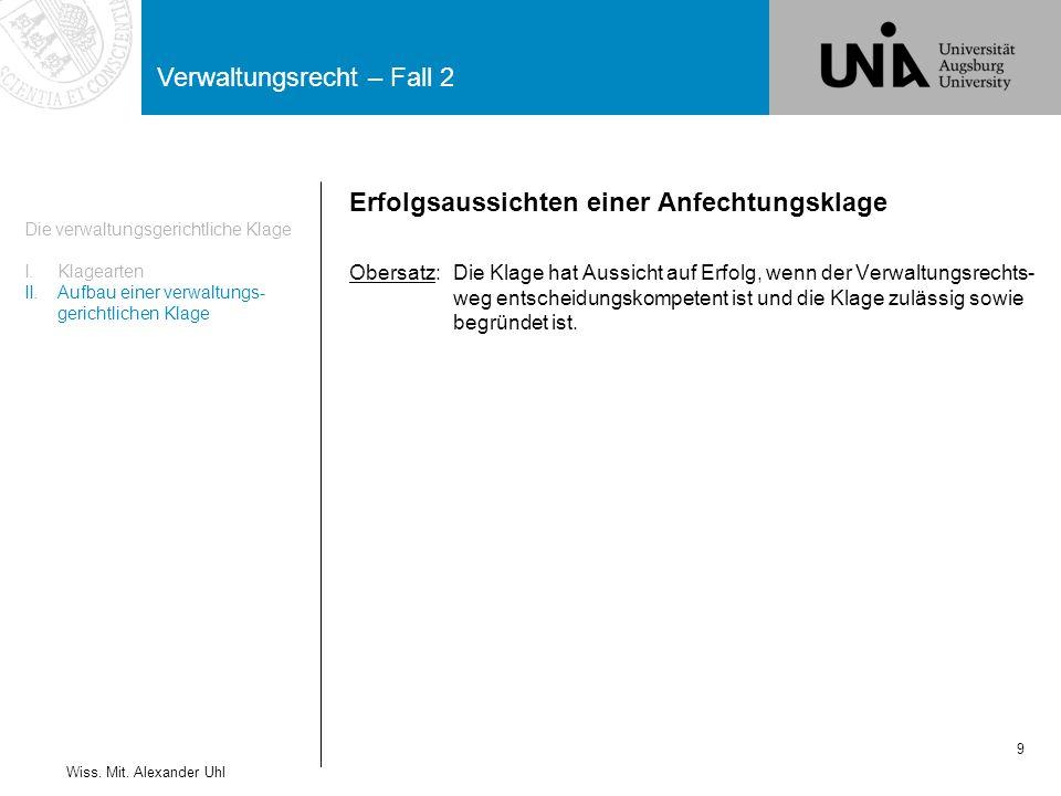 Verwaltungsrecht – Fall 2 30 Wiss.Mit.